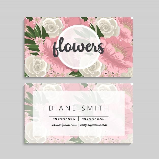 Visitekaartje met mooie roze bloemen Gratis Vector