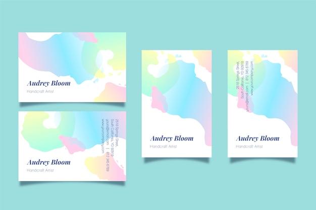 Visitekaartjes sjabloon met abstracte pastel vlekken Gratis Vector