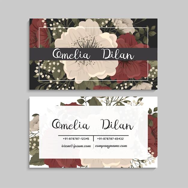 Visitekaartjes sjabloon rode en witte bloemen Gratis Vector