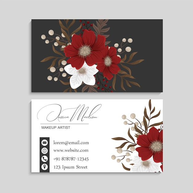 Visitekaartjes sjabloon rood en bloemen Gratis Vector