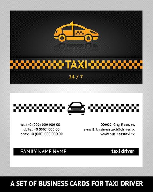 Visitekaartjes taxi cab Premium Vector