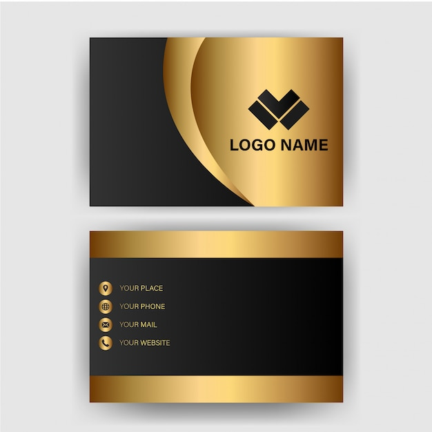 Visitekaartjesjabloon met gouden gradiëntluxe Premium Vector