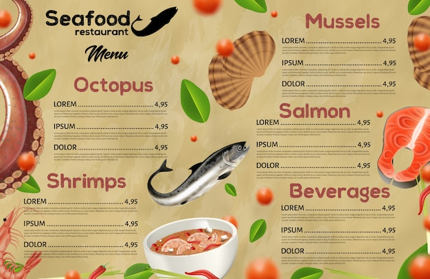 Visrestaurantmenu, mediterrane keuken Premium Vector