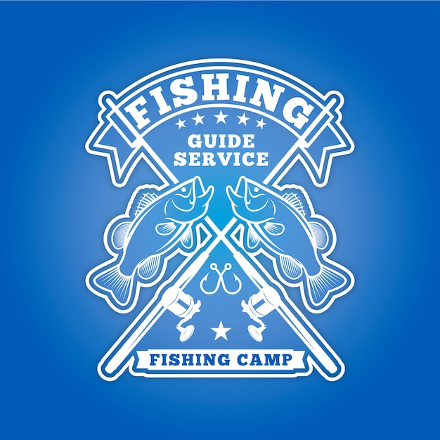 Vissen insigne of logo voor visserskamp Premium Vector