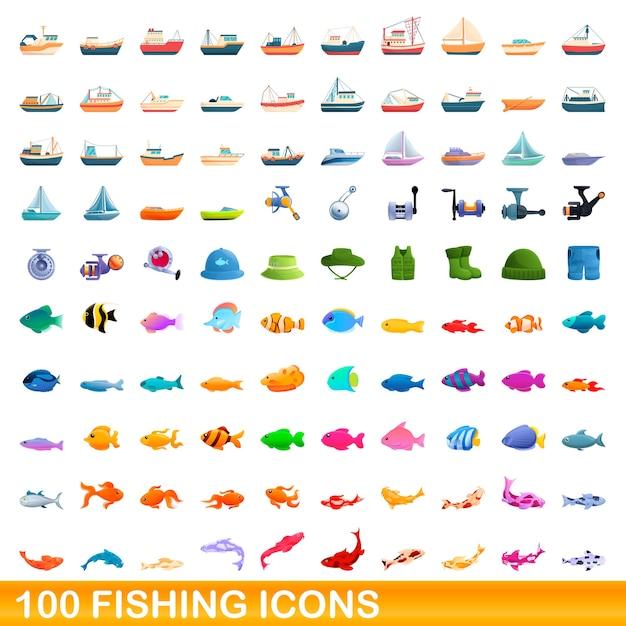 Vissen pictogrammen instellen. cartoon illustratie van visserij pictogrammen instellen op witte achtergrond Premium Vector