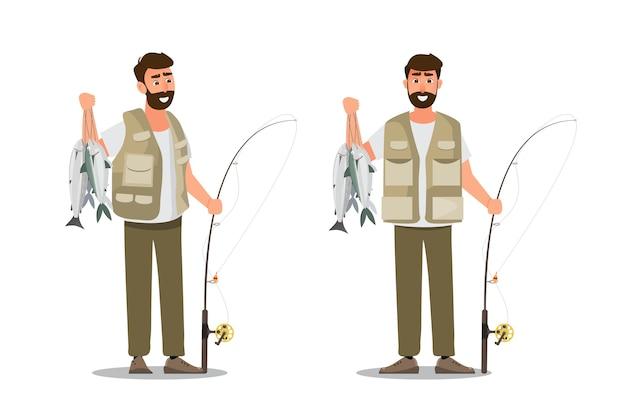Visser karakter met een grote vis en een hengel Premium Vector