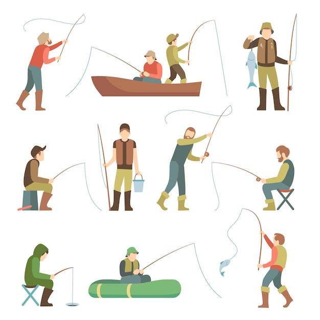 Visser plat pictogrammen. mensen vissen met apparatuur Premium Vector