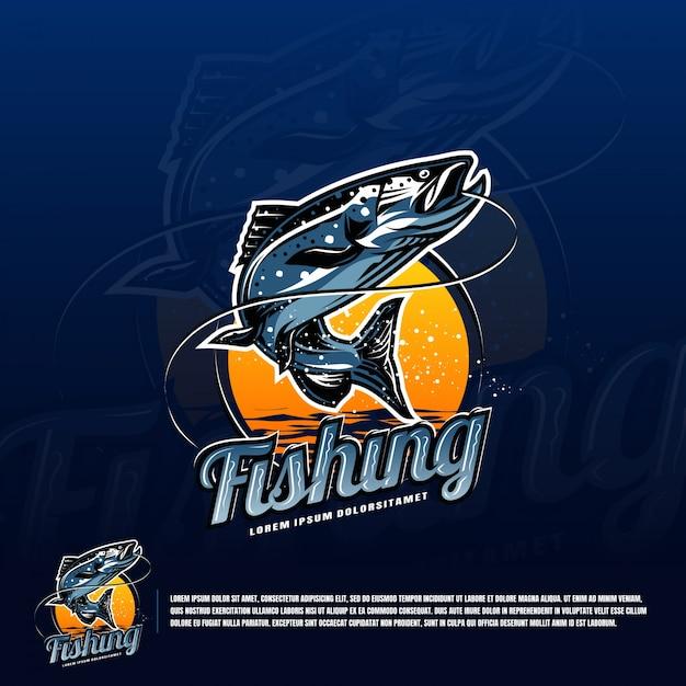 Visserij blauwe logo vector Premium Vector