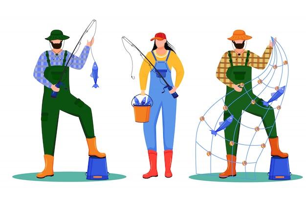 Vissers illustratie. sport, actieve ontspanning. vissersvloot. maritieme bezetting. vissers en vissersvrouwen stripfiguren op witte achtergrond Premium Vector