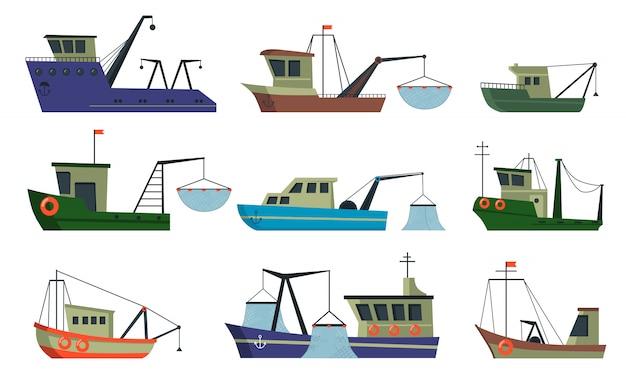 Vissersboten en trawlers ingesteld Gratis Vector
