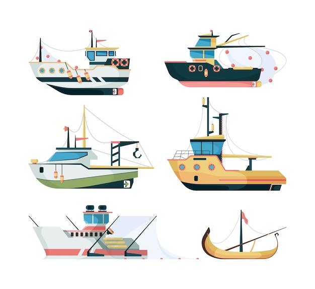 Vissersboten. zeevaartvervoer voor het vissen op grote en kleine schepen vector vlakke stijl. illustratie transport marine, nautische bootvissen Premium Vector