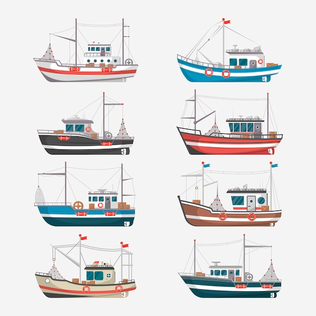 Vissersboten zijaanzicht over witte achtergrond Premium Vector