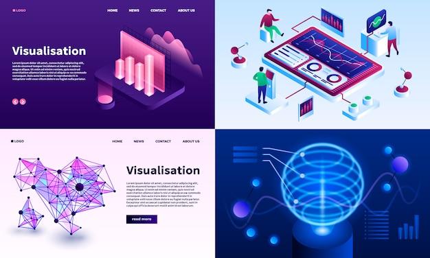 Visualisatie banner set. isometrische set van visualisatie Premium Vector