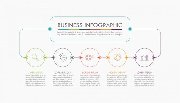 Visualisatie van bedrijfsgegevens. tijdlijn infographic sjabloon Premium Vector