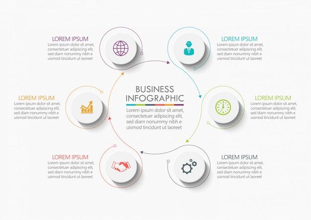 Visualisatie van bedrijfsgegevens. tijdlijn infographic Premium Vector
