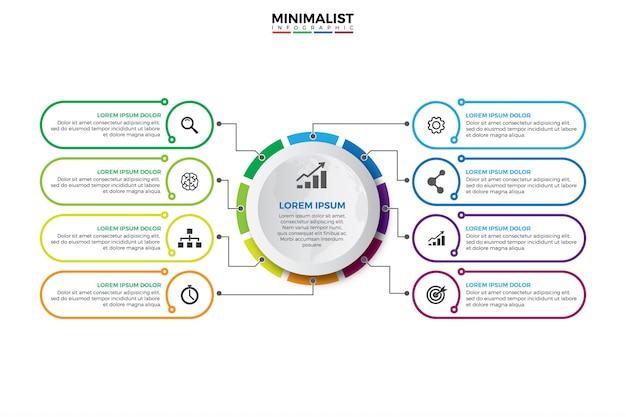Visualisatie van bedrijfsgegevens. Premium Vector