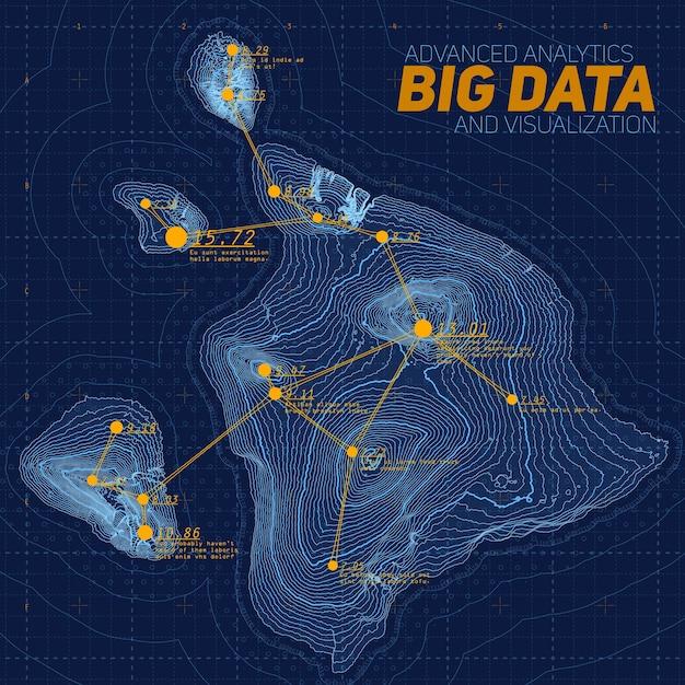 Visualisatie van big data voor terreinen. futuristische kaart infographic. complexe grafische visualisatie van topografische gegevens. abstracte gegevens op hoogtegrafiek. kleurrijk geografisch gegevensbeeld. Gratis Vector