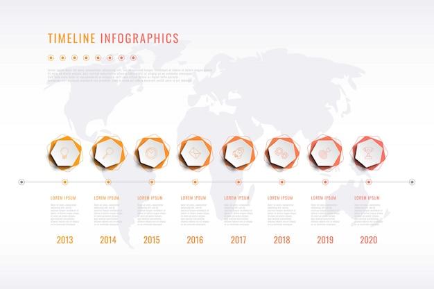 Visualisatie van moderne bedrijfsgeschiedenis met zeshoekige elementen, jaaraanduiding en wereldkaart Premium Vector