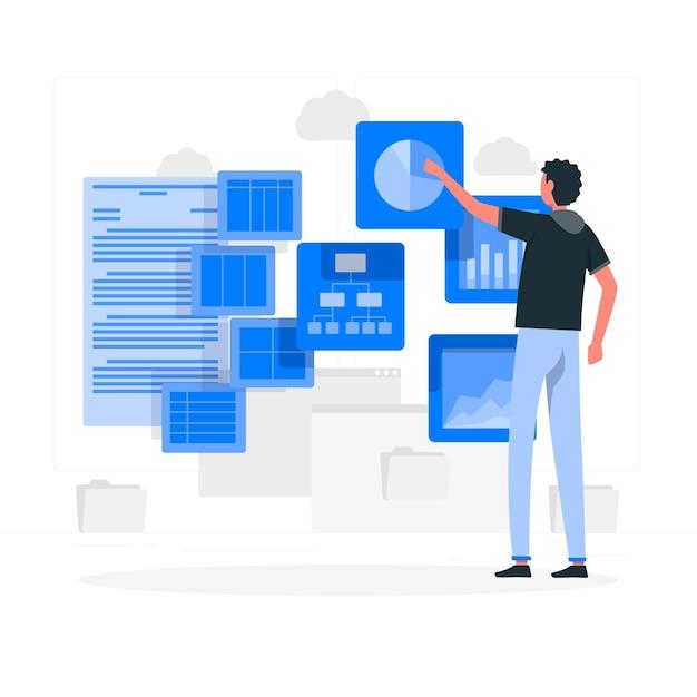 Visuele gegevens concept illustratie Gratis Vector