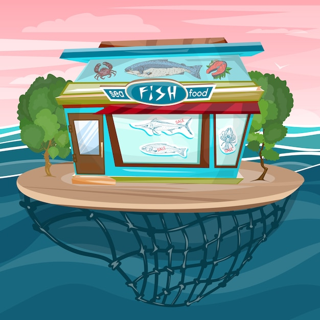 Viswinkel cartoon zee voedsel gevel gebouw vector Premium Vector