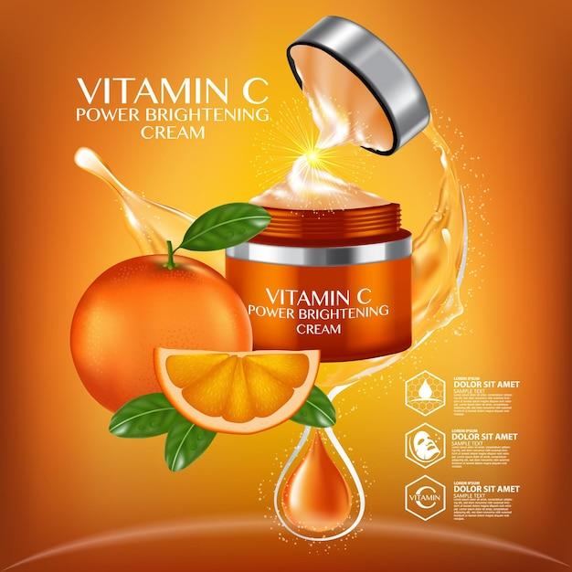 Vitamine c-serumadvertenties met verfrissende citrussecties en druppelflesje Premium Vector