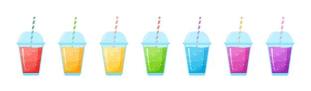 Vitamine smoothie cocktail zomer set illustratie. vers sap geschud energiecocktail in glas, regenboogkleurencollectie voor vitamine-drank om mee te nemen of detoxdieet Premium Vector