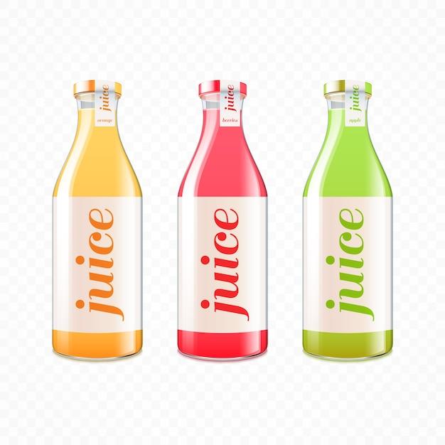 Vitamine vruchtensap in glazen flessen Gratis Vector