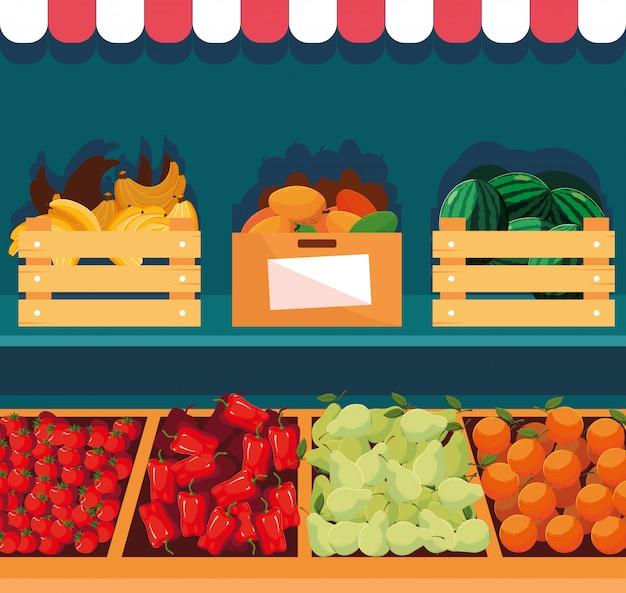 Vitrine houten winkel met groenten en fruit Premium Vector