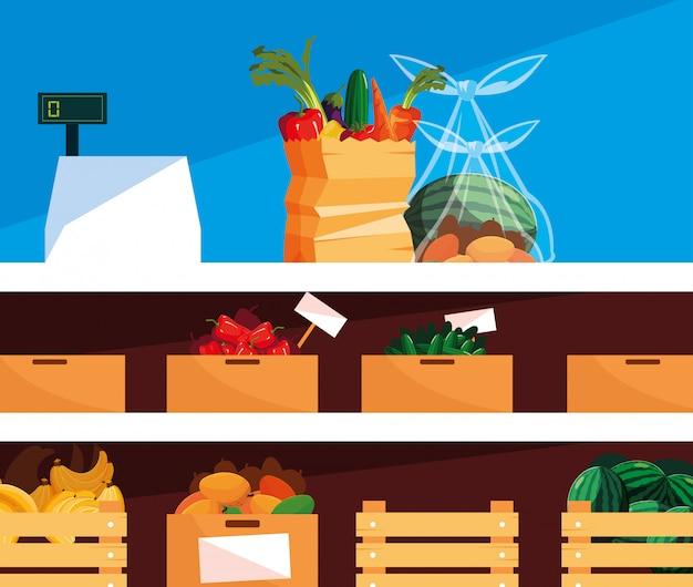Vitrine store met vers voedsel en kassa machine Premium Vector