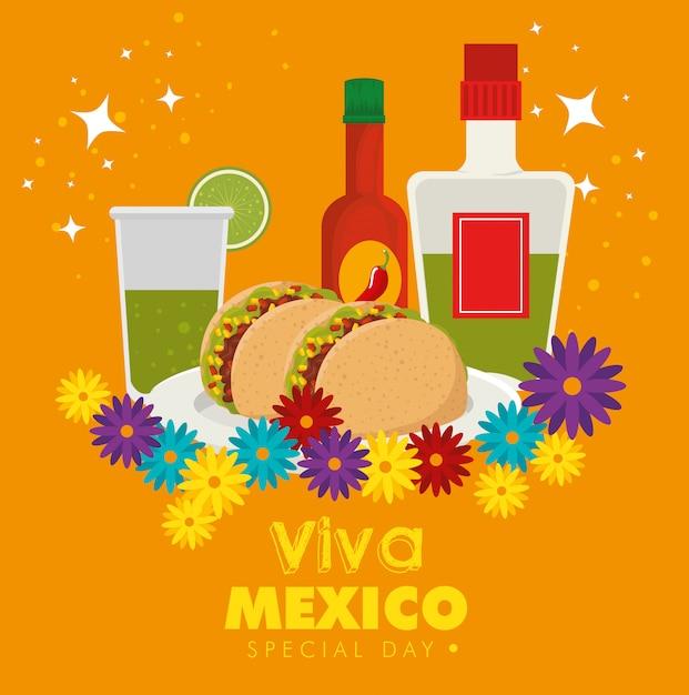 Viva mexico. dag van de dode viering met traditionele gerechten Gratis Vector