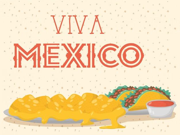 Viva mexico-feest met eten en sauzen Premium Vector
