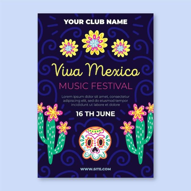 Viva mexico poster sjabloon Gratis Vector