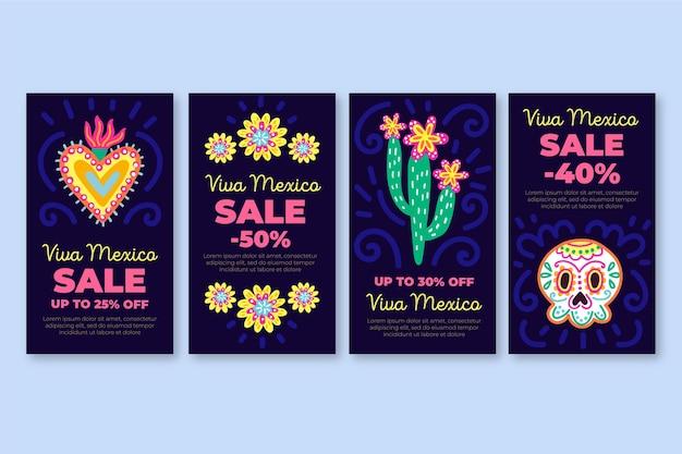 Viva mexico verkoop instagram verhalen sjabloon Gratis Vector