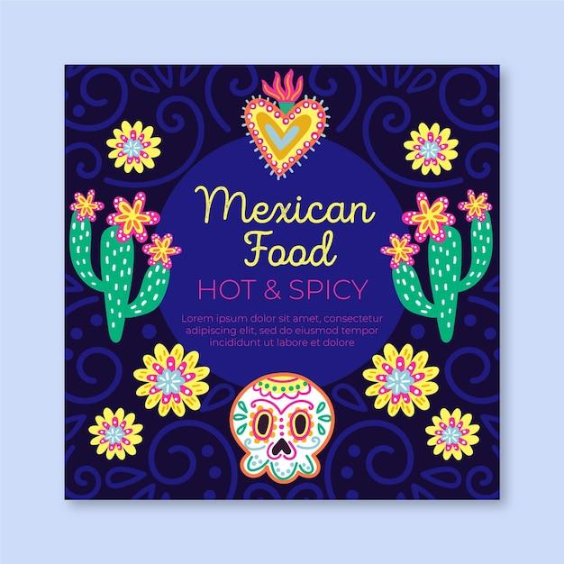 Viva mexico vierkante sjabloon folder Gratis Vector