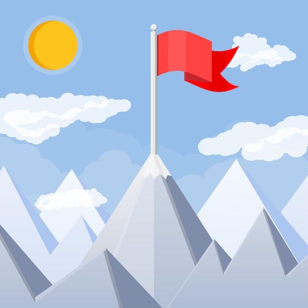 Vlag op de top van de berg. Premium Vector