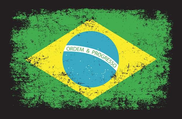 Vlag van brazilië in grunge-stijl Premium Vector
