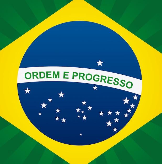 Vlag van brazilië met inscriptie Gratis Vector