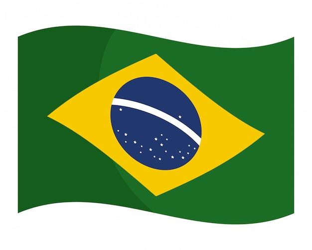 Vlag van brazilië plat geïsoleerde vector vectorillustratie Premium Vector