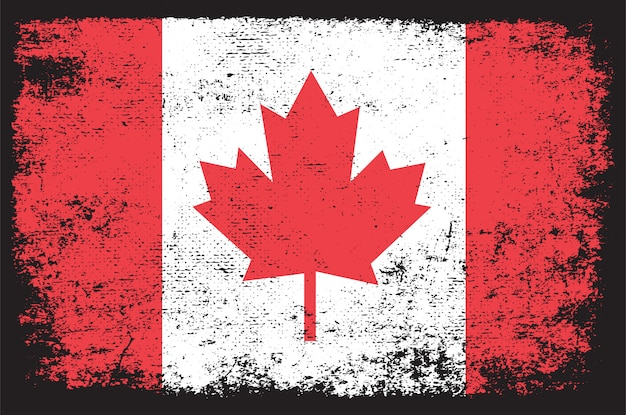 Vlag van canada in grunge-stijl Premium Vector