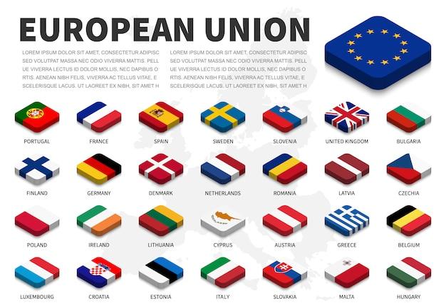 Vlag van de europese unie (eu) en lidmaatschap op europa kaart achtergrond. isometrisch topontwerp. vector. Premium Vector
