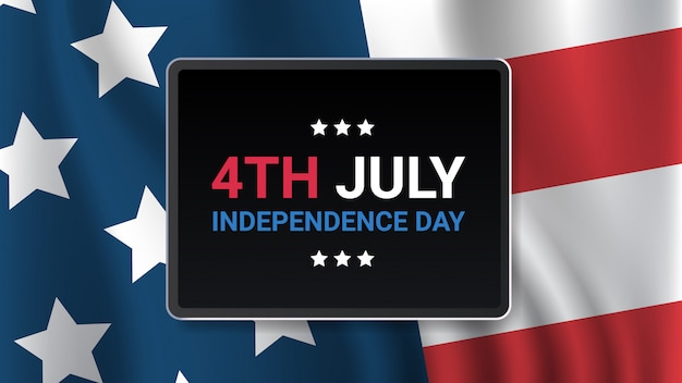 Vlag van de verenigde staten amerikaanse onafhankelijkheidsdag viering 4 juli banner wenskaart horizontale illustratie Premium Vector
