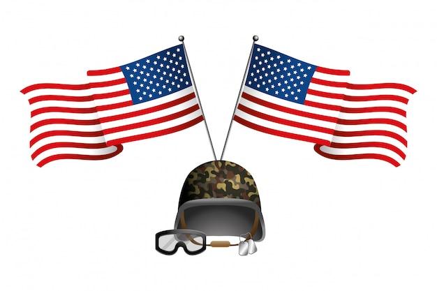 Vlag van de verenigde staten met militaire helm Premium Vector