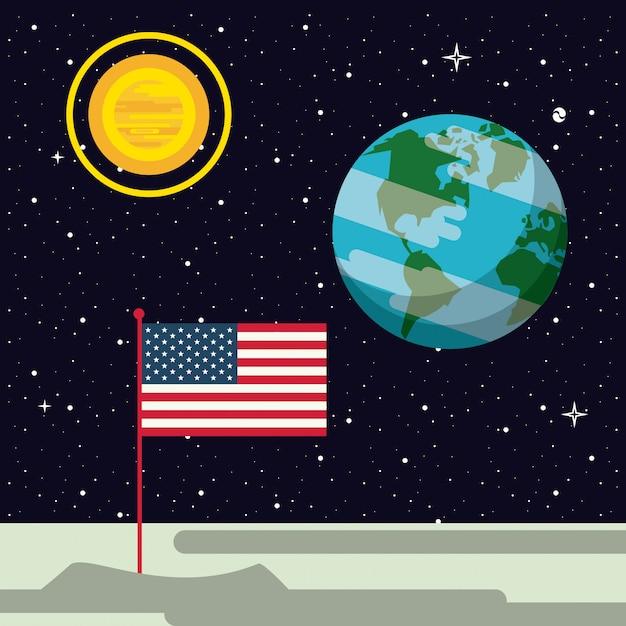 Vlag van de vs genageld in de maan Premium Vector