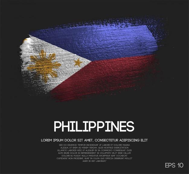 Vlag van filipijnen gemaakt van glitter sparkle brush paint Premium Vector