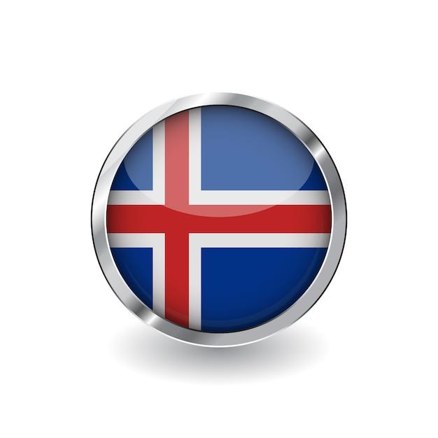 Vlag van ijsland Premium Vector