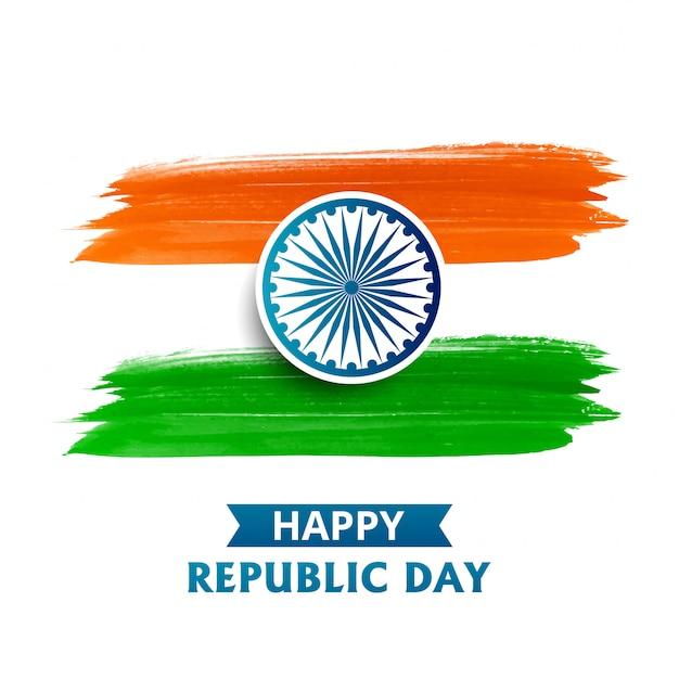Vlag van india, waterverf op wit Gratis Vector