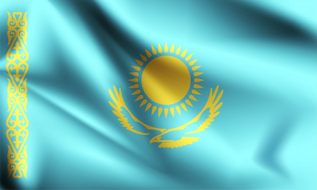 Vlag van kazachstan zwaaien Premium Vector