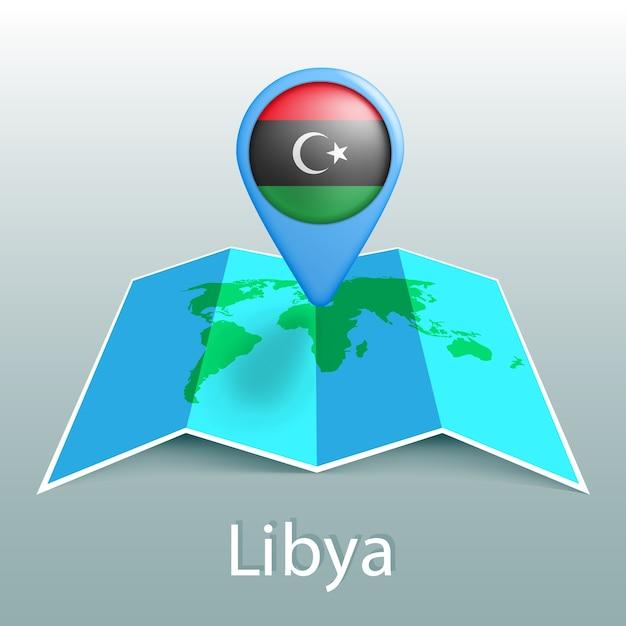 Vlag van libië wereldkaart in pin met naam van land op grijze achtergrond Premium Vector