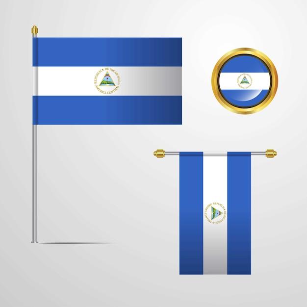 Vlag van nicaragua met ontwerp vector Gratis Vector
