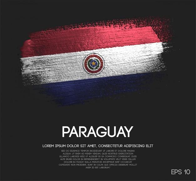 Vlag van paraguay gemaakt van glitter sparkle brush paint Premium Vector